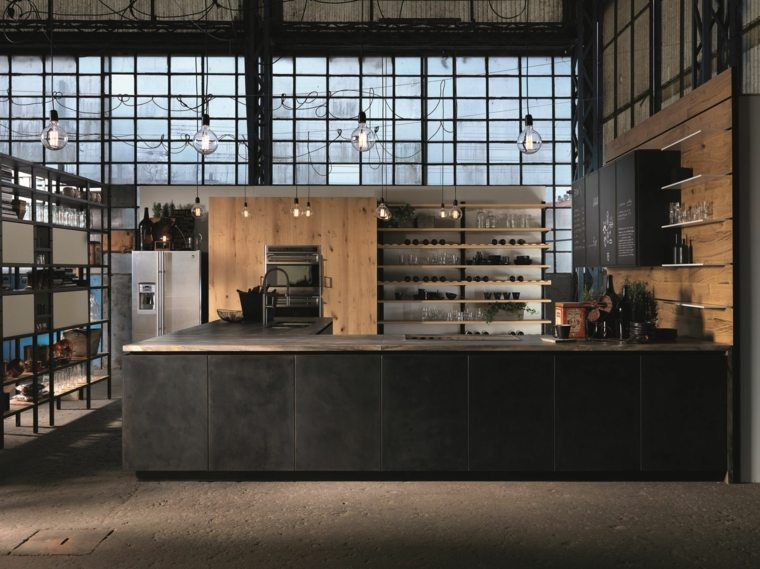 cocinas madernas con barra espacios industriales aster cucine ideas