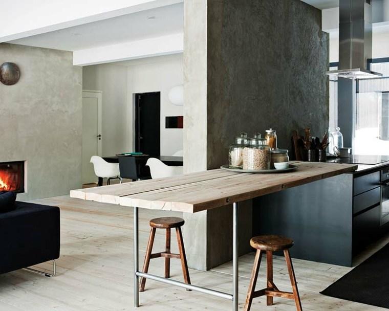 cocinas modernas con barra madera opciones ideas
