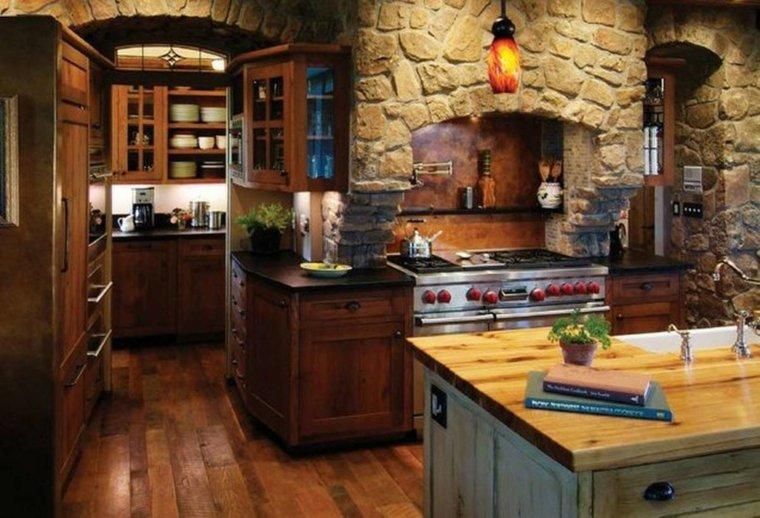 cocinas rústicas de madera piedras