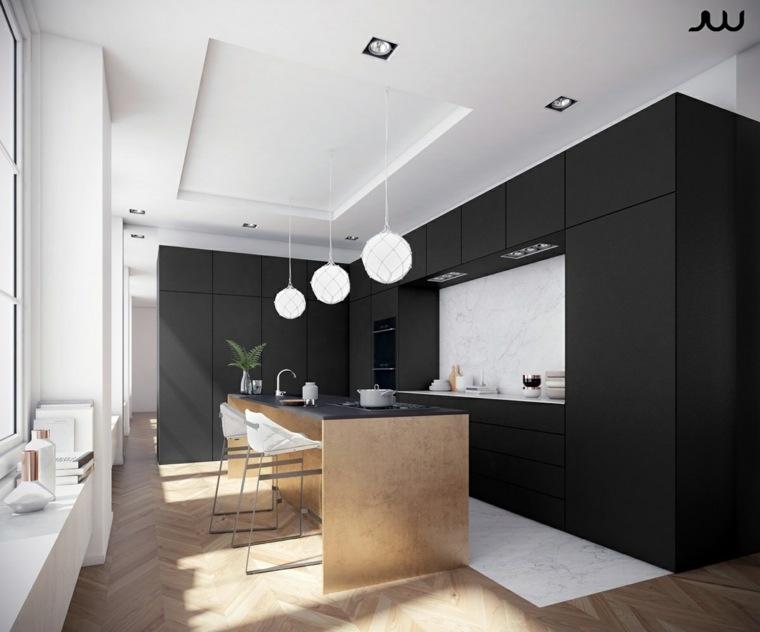color negro cocinas claro colores JW Renders muebles