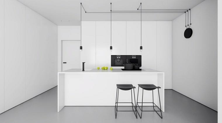 color negro cocinas lineas muebles verdes