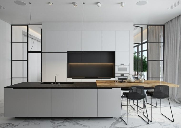 color negro cocinas listones concepto encimeras