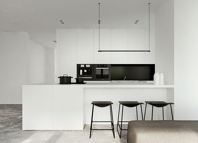 color negro cocinas minimalistas especiales bar