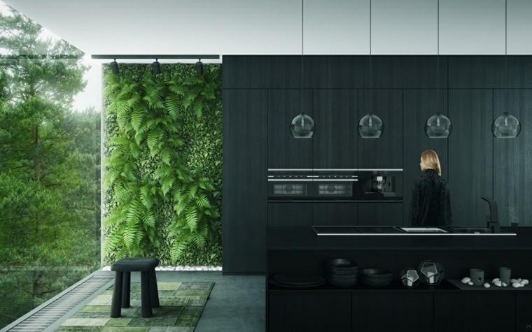 color negro cocinas plantas pared efectos