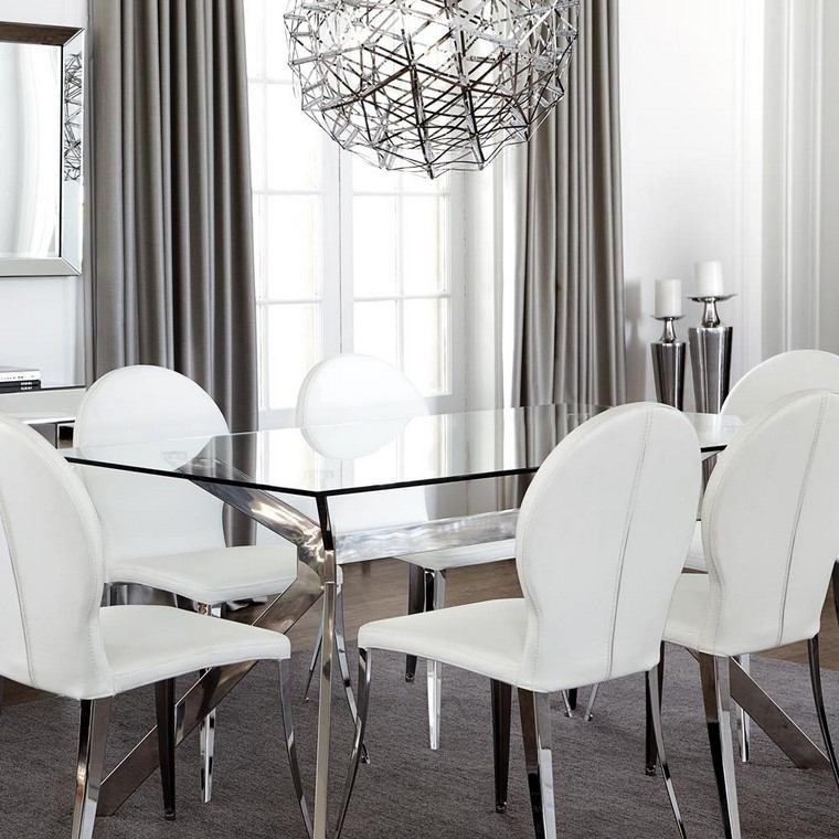 comedor moderno sillas pies plata ideas