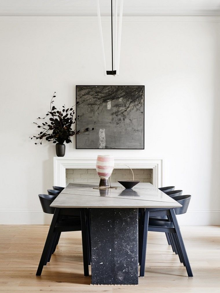 comedores blancos mesa negra robson rak architects ideas