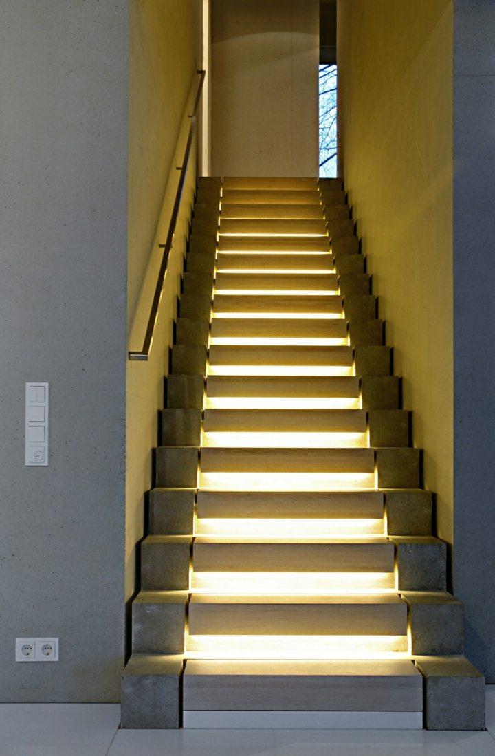 concreto plantas luces escaleras moderna