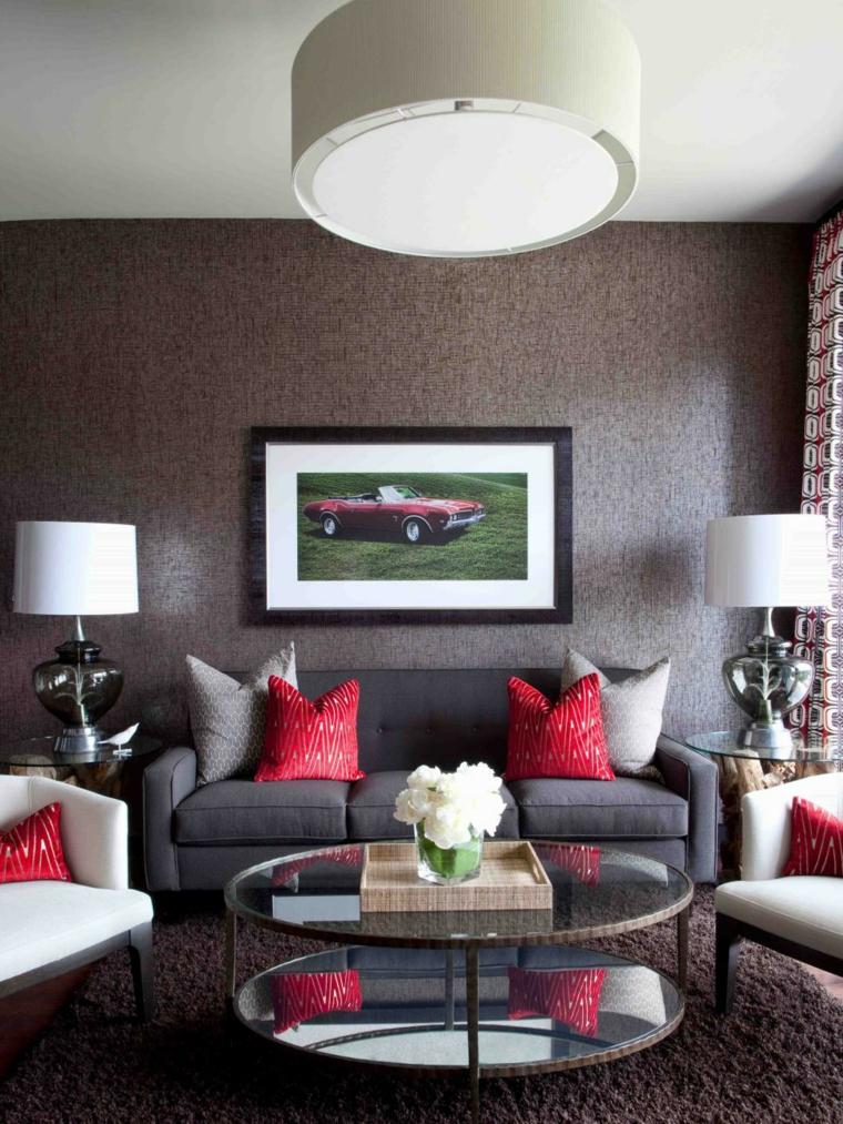 contemporaneo acentos rojo sala paredes