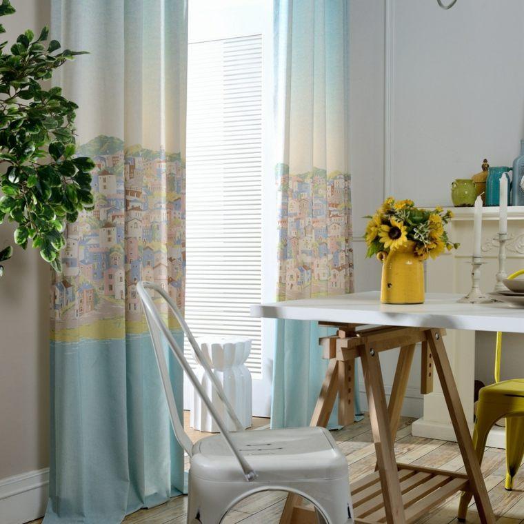 cortinas de cocina color azul claro opciones ideas