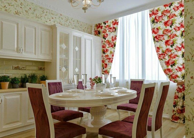 cortinas de cocina estores diseno flores grandes estampa ideas