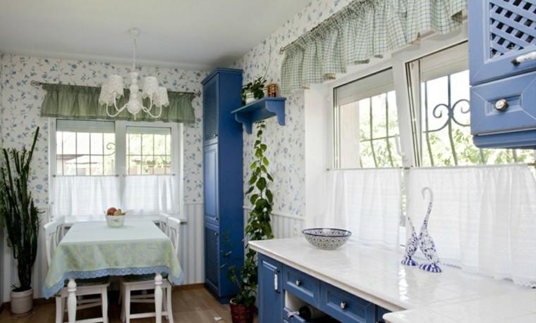 cortinas de cocina estores diseno muebles azules ideas