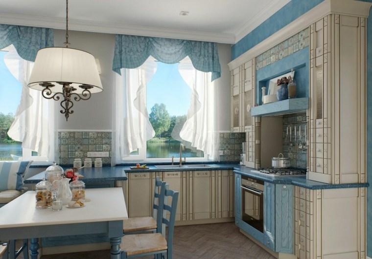 cortinas de cocina muebles cortinas azules ideas