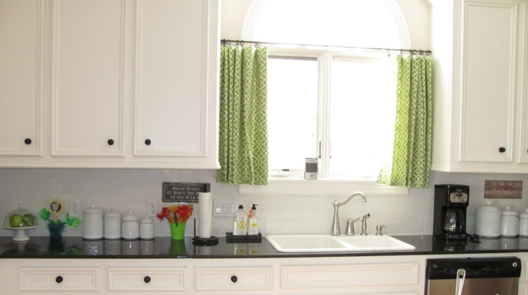 cortinas decocina estores diseno color verde atractivo ideas