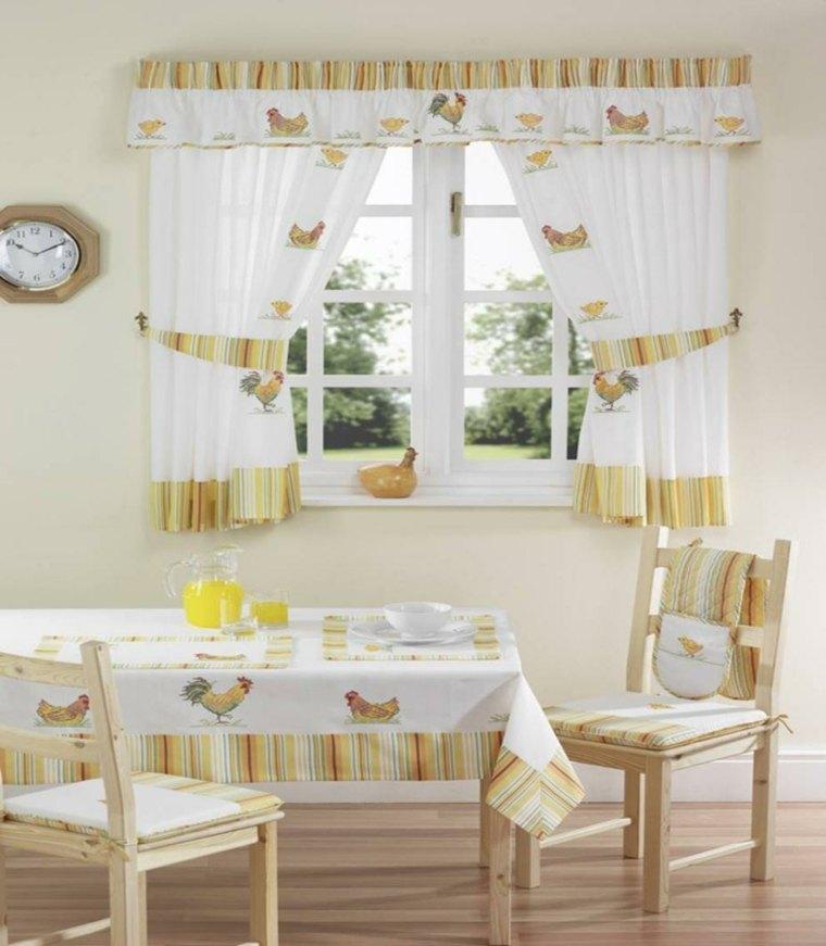 unas cortinas para la cocina combinadas con el mantel de la mesa