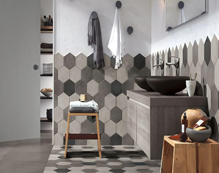 cuarto baño tonos grises