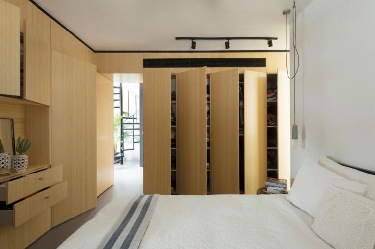 decoración apartamentos diseno moderno dormitorio armario puertas ideas