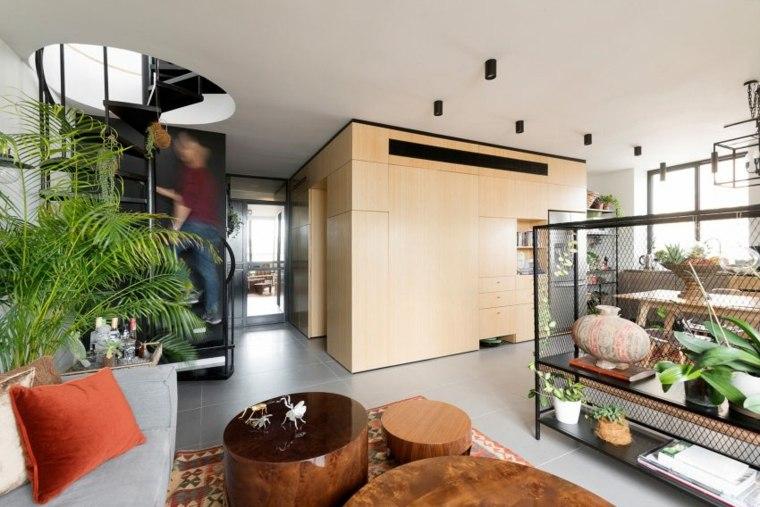 decoración apartamentos diseno moderno escalera caracol ideas