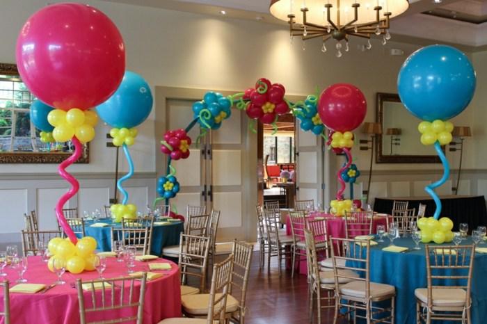 decoracion con globos columnas especiale lineas