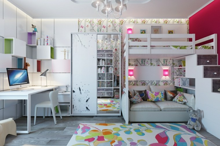 decoración de habitación para ninos alfombra colores literas ideas