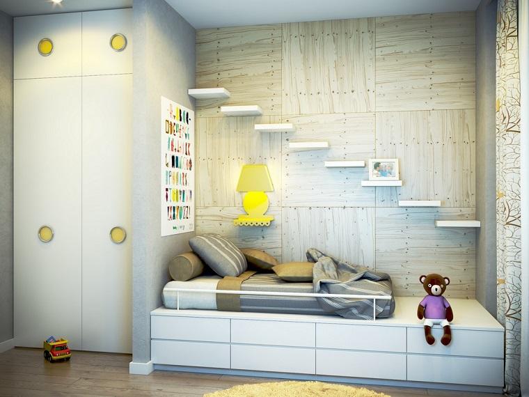 decoración de habitación para ninos blanco amarillo ideas