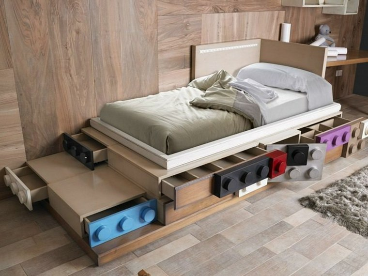 decoracion de habitacion para ninos inspirado lego cama ideas