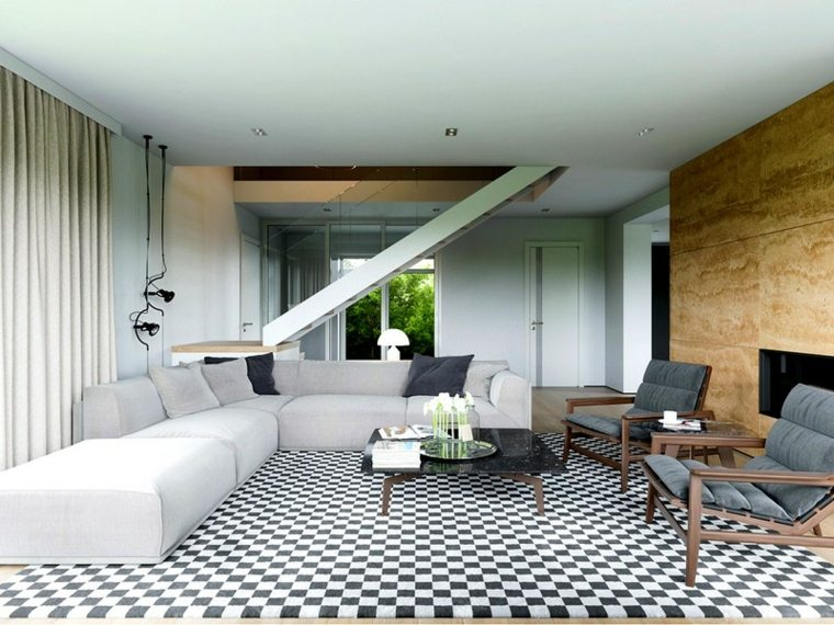 decoracion de interiores tendencias 2017 alfombra cuadros blanco negro diseno ideas