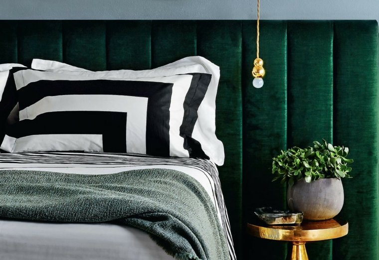 decoracion de interiores tendencias 2017 cama cabecero verde ideas