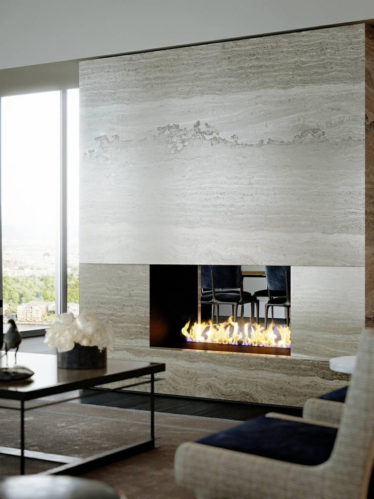decoración de interiores tendencias 2017 chimenea lujosa marmol ideas