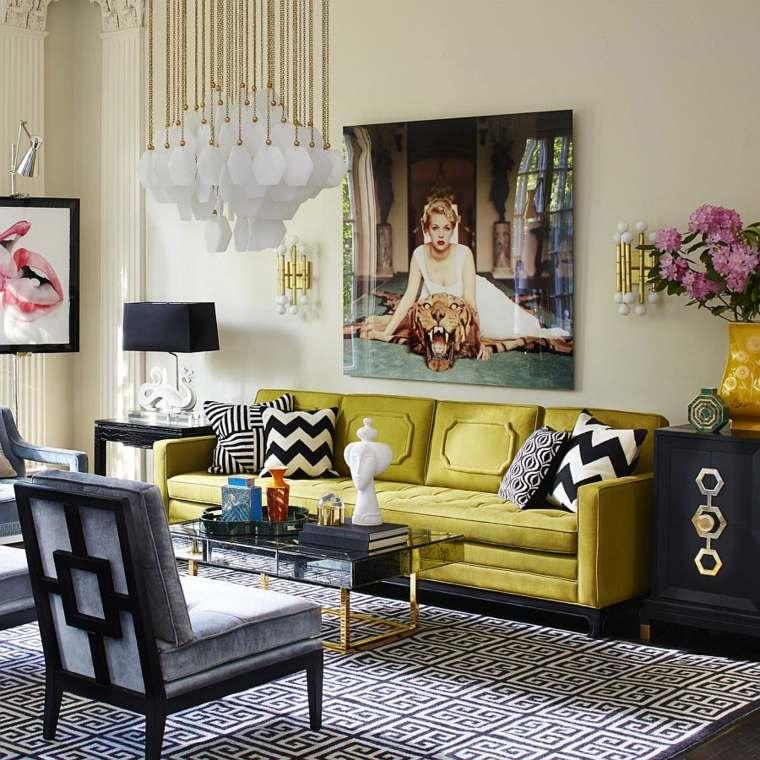 decoracion de interiores tendencias 2017 detalles color dorado sofa verde ideas