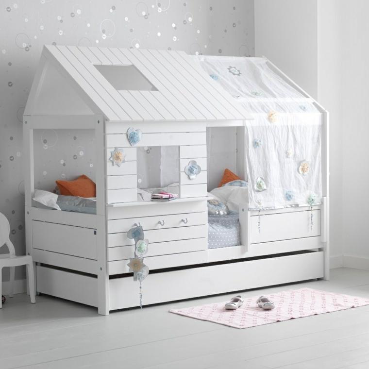 decoracion habitacion ninos cama madera blanca ideas