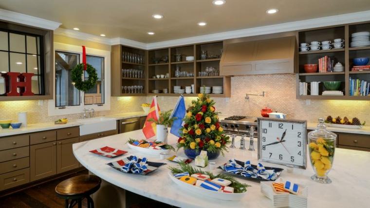 decoracion navidad coronas ventanas cocinas