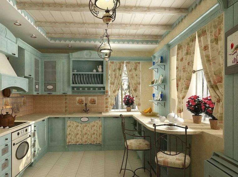 decoracion provenzal cocina muebles azules ideas