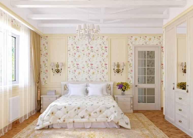 decoracion provenzal dormitorio papel pared ideas