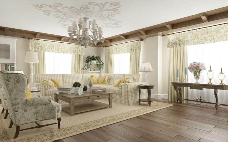 decoracion provenzal salon estilo muebles estampas ideas