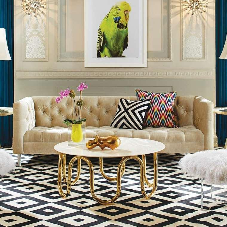 decoración de interiores tendencias 2017 mesa color oro preciosa ideas