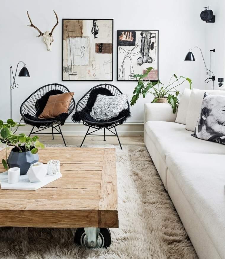 decoración de interiores tendencias 2017 muebles bellos mesita madera ruedas ideas