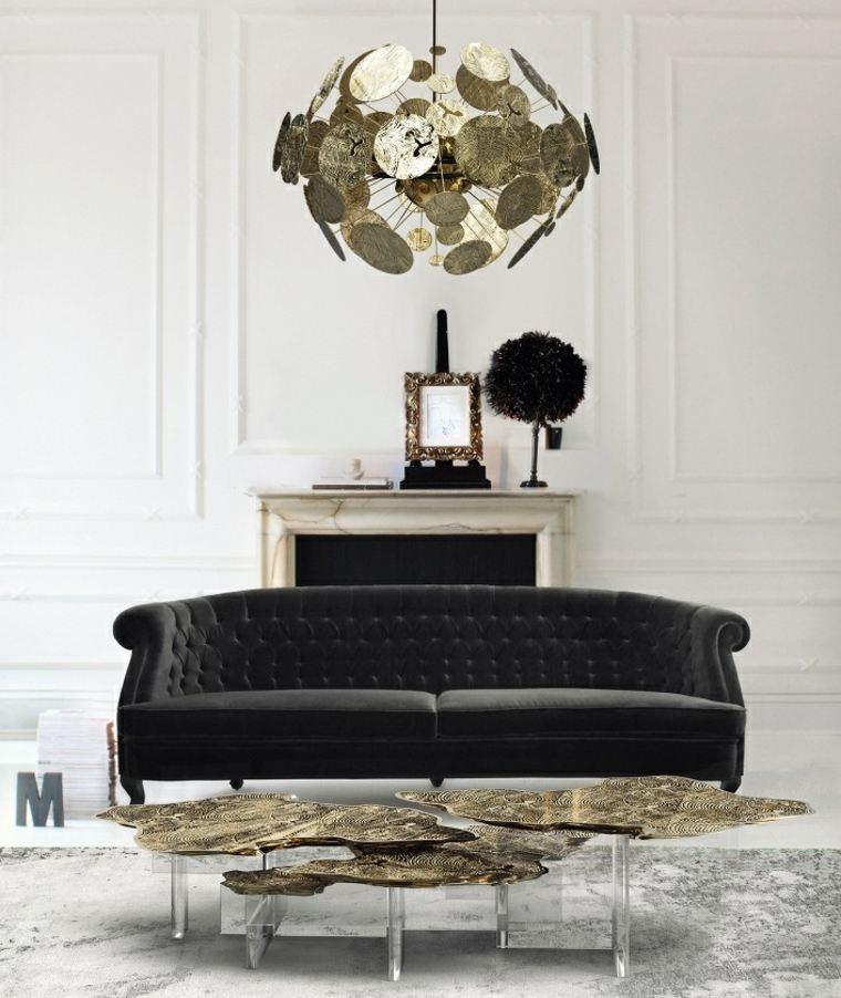 decoración de interiores tendencias 2017 sofa negra mesita moderna opciones ideas