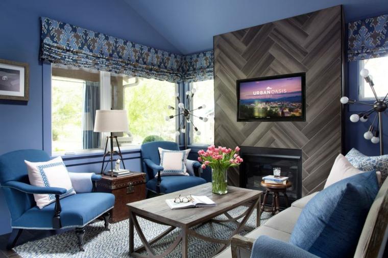 decorar salones azul oscuro cortinas