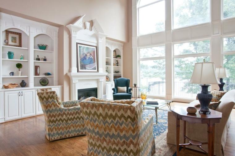 decorar salones blanco luminosos estantes