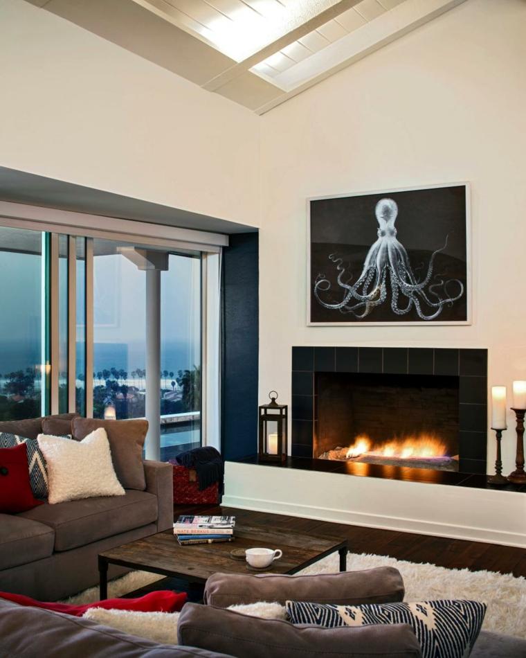 decorar salones calido contraste sillones