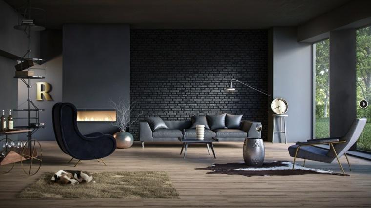 decorar salones ideas alfombras lanudas ladrillos