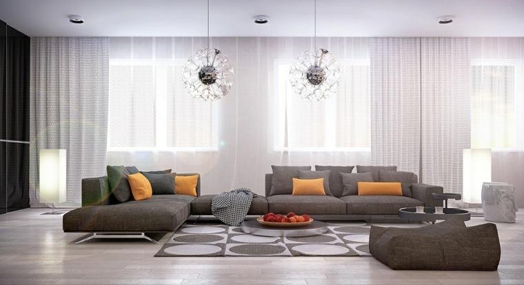 decorar salones ideas circulos alfombras amarillos