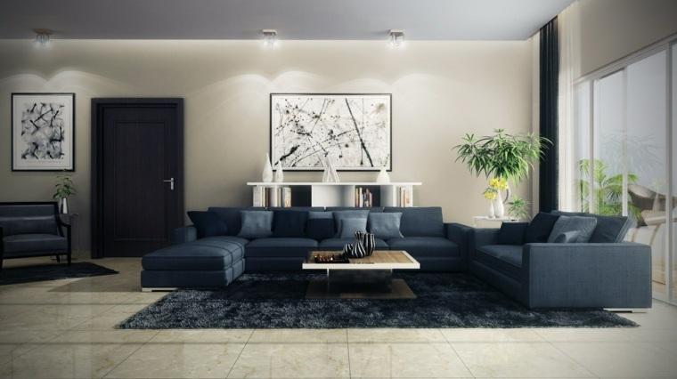 decorar salones ideas especiales sofa azul plantas