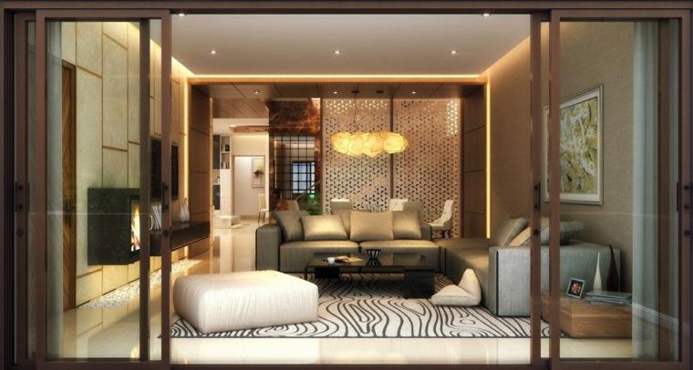 decorar salones ideas madera puertas cristales