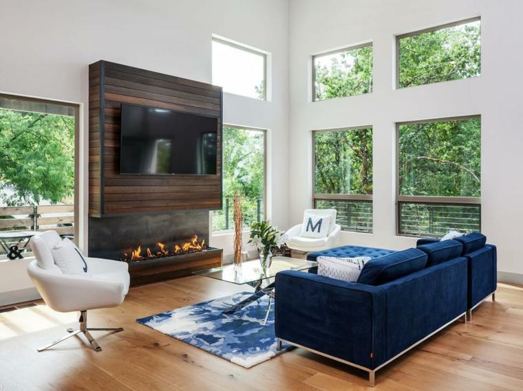 decorar salones madera chimenea punto focal especiales