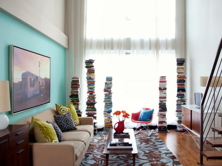 decorar salones original forma libros sectores