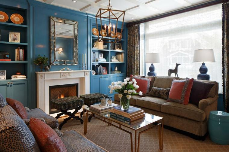 decorar salones tradicional espejos chimeneas