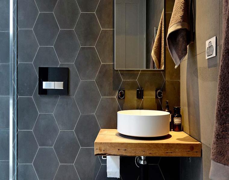 diseño azulejos hexagonales grises