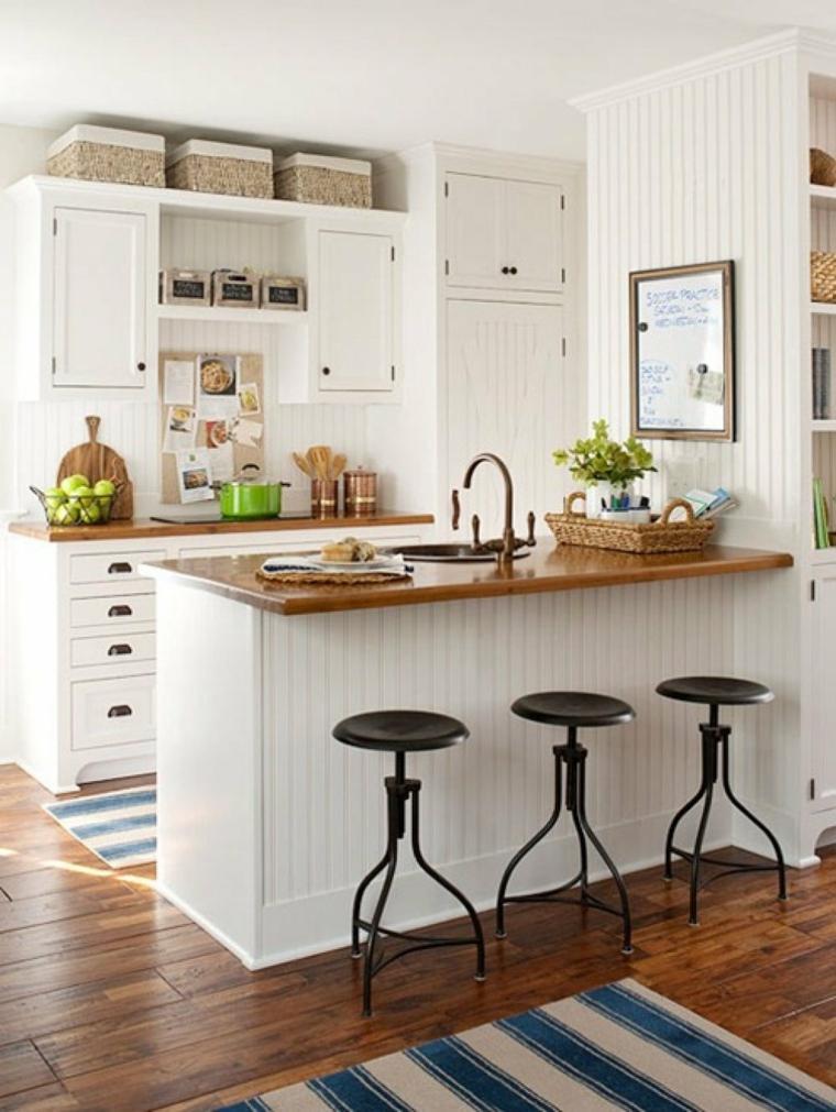 diseño cocina pequeña blanca