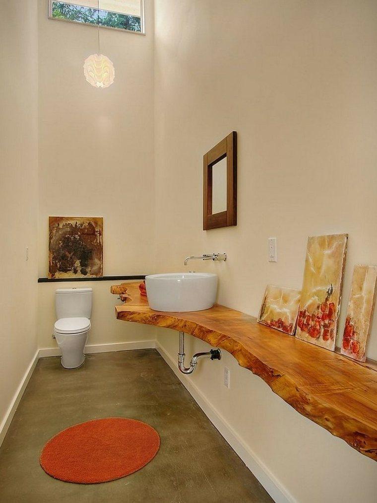 mueble lavabo madera natural